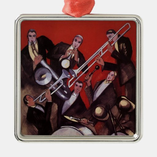 Vintage Music, Art Deco Musical Jazz Band Jamming Ornament