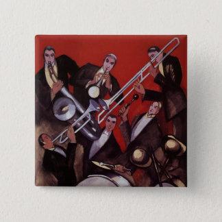 Vintage Music, Art Deco Musical Jazz Band Jamming Pinback Button