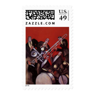 Vintage Music, Art Deco Musical Jazz Band Jamming Postage