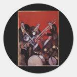 Vintage Music, Art Deco Musical Jazz Band Jamming Sticker