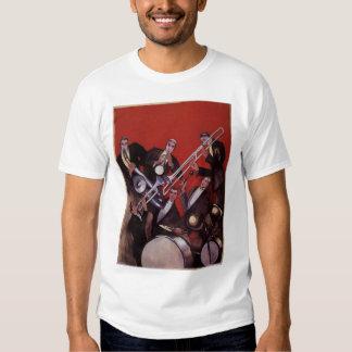 Vintage Music, Art Deco Musical Jazz Band Jamming T Shirt