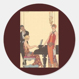 Vintage Music, Art Deco Pianist Musician Singer Classic Round Sticker