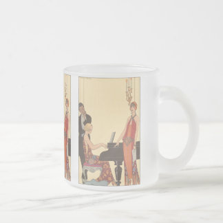 Vintage Music, Art Deco Pianist Musician Singer Frosted Glass Coffee Mug