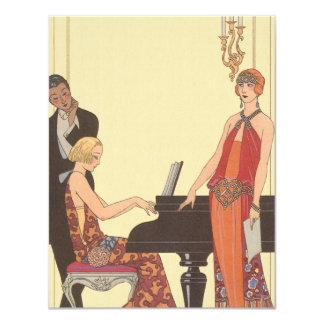 "Vintage Music, Art Deco Pianist Musician Singer 4.25"" X 5.5"" Invitation Card"