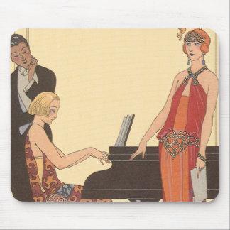 Vintage Music, Art Deco Pianist Musician Singer Mouse Pad