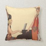 Vintage Music, Art Deco Pianist Musician Singer Throw Pillows