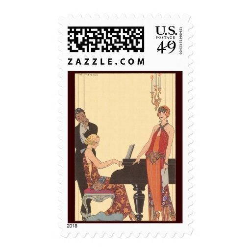 Vintage Music, Art Deco Pianist Musician Singer Postage Stamp