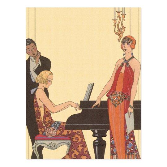vintage music  art deco pianist musician singer postcard