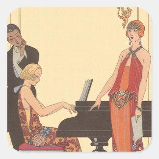 Vintage Music, Art Deco Pianist Musician Singer Square Sticker