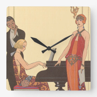 Vintage Music, Art Deco Pianist Musician Singer Square Wall Clock