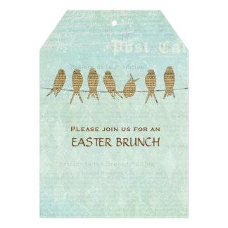 Vintage Music Birds Blue Easter Brunch 5x7 Paper Invitation Card