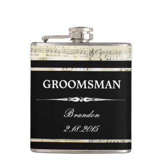 Vintage Music Black GROOMSMAN Wedding Flask