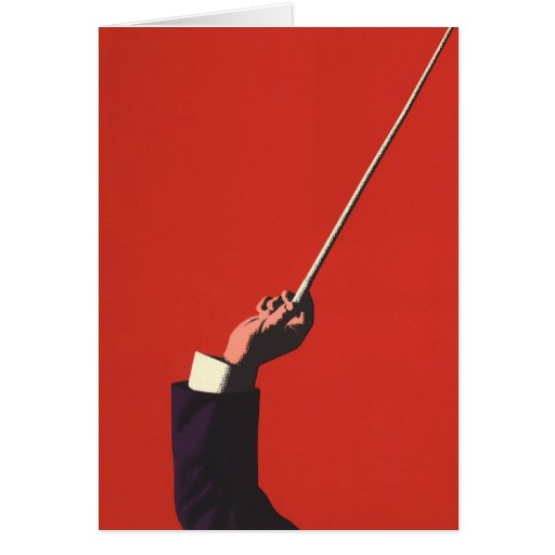 Vintage Music, Conductor's Hand Holding a Baton Card
