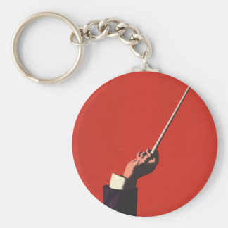 Vintage Music, Conductor's Hand Holding a Baton Basic Round Button Keychain
