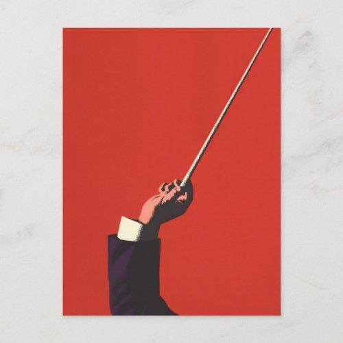Vintage Music Conductors Hand Holding a Baton Postcard