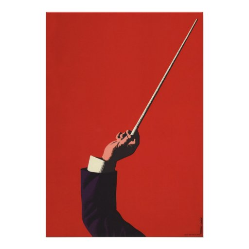 Vintage Music, Conductor's Hand Holding a Baton Posters