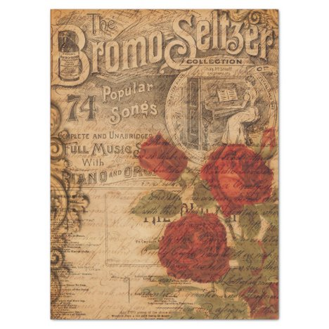 Vintage Music Cover & Rose Shabby Chic Decoupage Tissue Paper