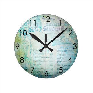 Vintage Music Ephemera teal blue Round Clock