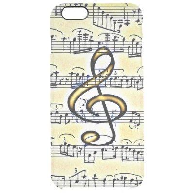 Vintage Music Gold Color Treble Clef Clear iPhone 6 Plus Case
