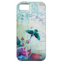 Vintage Music Hummingbird lavender teal mauve blue iPhone SE/5/5s Case