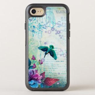 Vintage Music Hummingbird lavender teal mauve blue OtterBox Symmetry iPhone 8/7 Case