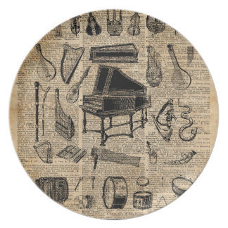 Vintage Music Instruments Dictionary Art Melamine Plate