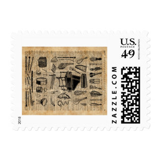 Vintage Music Instruments Dictionary Art Postage