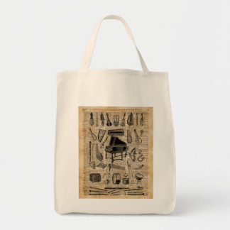 Vintage Music Instruments Dictionary Art Tote Bag