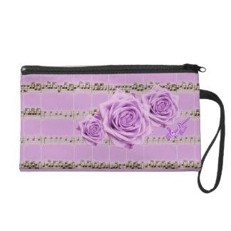 Vintage Music & Lavender Roses Wristlet