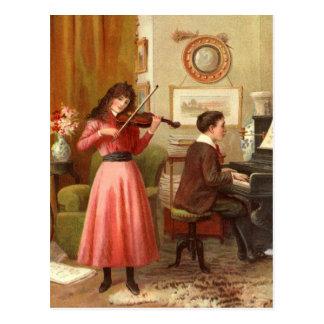 Vintage - Music Lessons Postcard