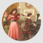Vintage - Music Lessons Round Stickers