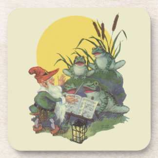 Vintage Music Magazine Cover Art, Etude Frog Choir Beverage Coaster