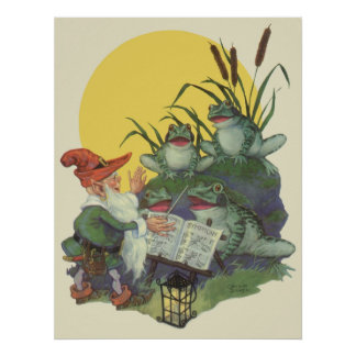 Vintage Music Magazine Cover Art, Etude Frog Choir Poster