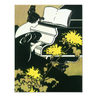 """Vintage Music, Miss Traumerei Playing Piano, Reed 4.25"""" X 5.5"""" Invitation Card"""