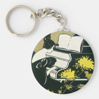 Vintage Music Miss Traumerei Playing Piano Reed Key Chain