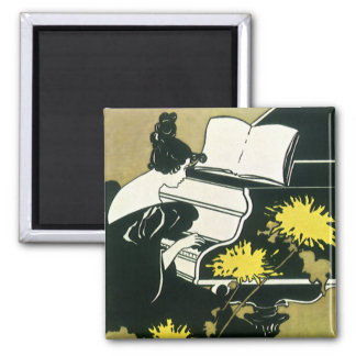 Vintage Music, Miss Traumerei Playing Piano, Reed Refrigerator Magnet