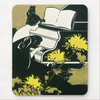 Vintage Music, Miss Traumerei Playing Piano, Reed Mouse Pad