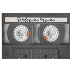 Vintage Music Mix Tape Look with Welcome Message Doormat