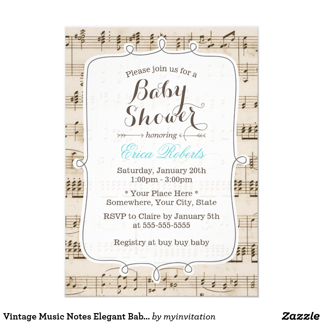 Vintage Music Notes Elegant Baby Shower Card