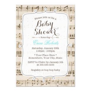 Vintage Music Notes Elegant Baby Shower Card