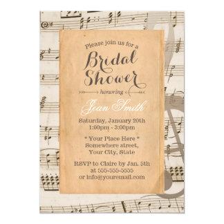 Vintage Music Notes Elegant Bridal Shower Card