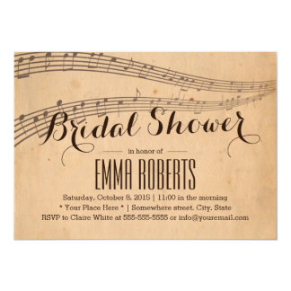 Vintage Music Notes Elegant Musical Bridal Shower Card