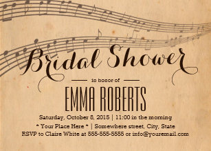 vintage music notes elegant musical bridal shower invitation