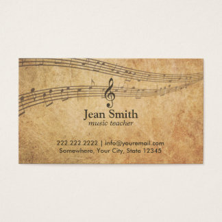Vintage Music Notes Elegant Musical Business Card