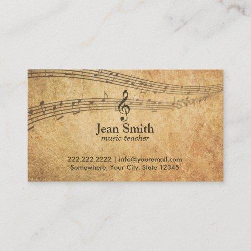 Vintage Music Notes Elegant Musical Business Card