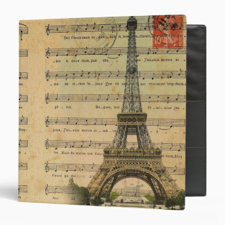 vintage music notes french paris eiffel tower binder