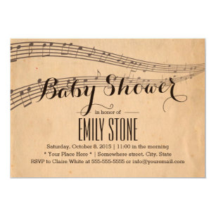 Vintage Music Notes Musical Baby Shower Card