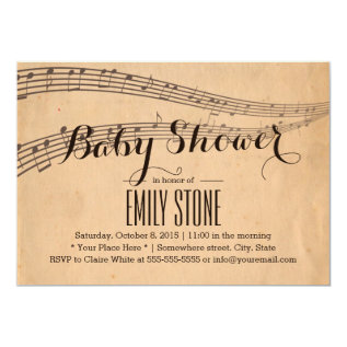 Vintage Music Notes Musical Baby Shower Card at Zazzle