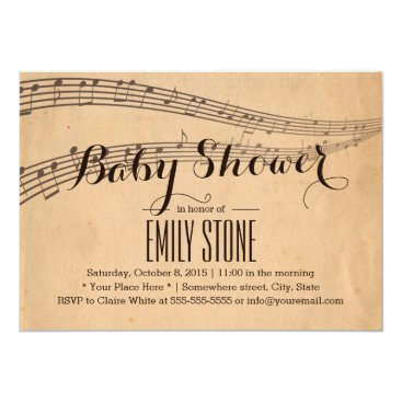 Toddler & Baby themed Vintage Music Notes Musical Baby Shower Card