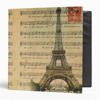 Vintage music notes Paris Eiffel Tower Binder